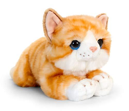 Lashuma Plüschtier Katze Ginger, Weiches Stofftier Kätzchen Rot Getigert, Keel Toys Liegende Kuscheltier Mieze 32 cm