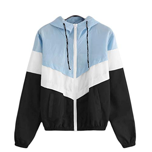 Riou Damen Windbreaker Leicht Wasserdicht Windjacke Teenager Mädchen Frühling Herbst Hoodie mit Reißverschluss Patchwork Übergangsjacke Dünne Softshell Jacke Mantel