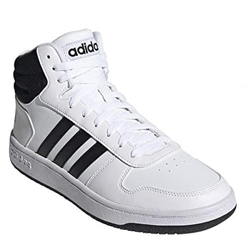 adidas Hoops 2.0 Mid, Basketball Shoe Hombre, Footwear White/Core Black/Core Black, 43 1/3 EU