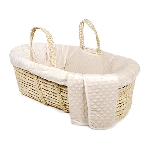Tadpoles Minky Dot Moses Basket and Bedding Set, Natural
