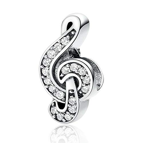 Bolenvi Crystallized Music Note 925 Sterling Silver Charm Bead for Pandora & Similar Charm Bracelets or Necklaces