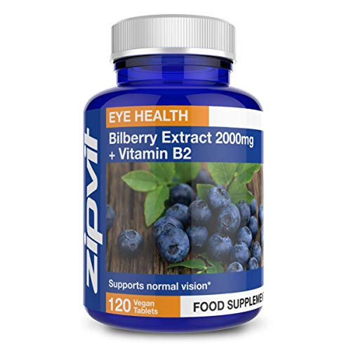 Bilberry Extract 2000mg with Added Vitamin B2, 120 Vegan Tablets. Vegetarian Society Approved.