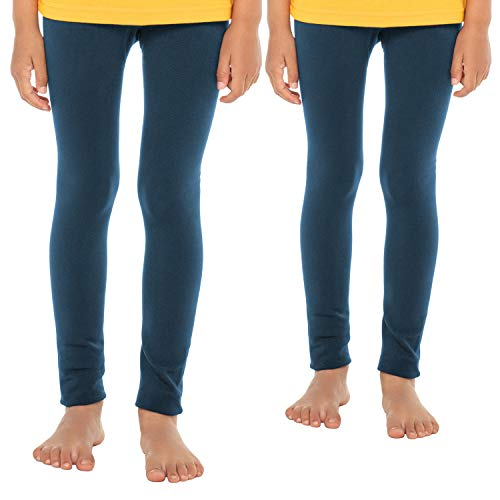 Celodoro Kinder Thermo Leggings (2 Stück) - warme Unterhose lang mit Innenfleece - Blau 146-152