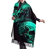 gong Green Cool Smoke Skull Schwarzer Wollschal Pashmina-Tücher Wickel für Frauen Kaschmir Warmer Winter Übergroße Decke