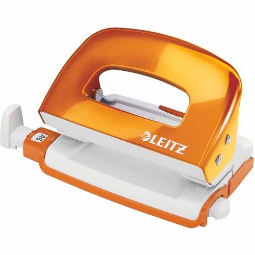 Leitz 50601044 kleiner Locher (10 Blatt, Anschlagschiene mit Formatvorgaben, Metall, Blisterverpackung, WOW) metallic orange