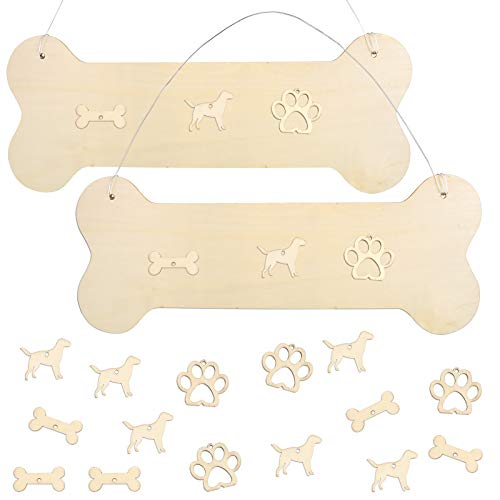 Pllieay 2PCS Big Wooden Dog Bone Shape Sign, Blank Cutouts Ready for Crafts Wooden DIY Project, Gift Tags and Interior Decor
