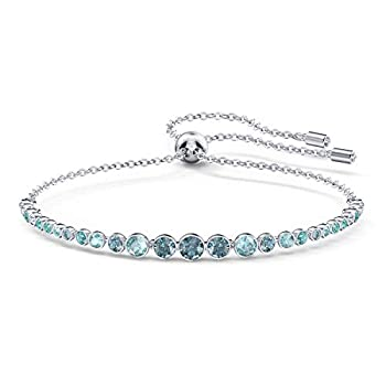 Swarovski Women s Emily Collection Bracelet Brilliant Blue Crystals with Rhodium Plating with Bolo Closure