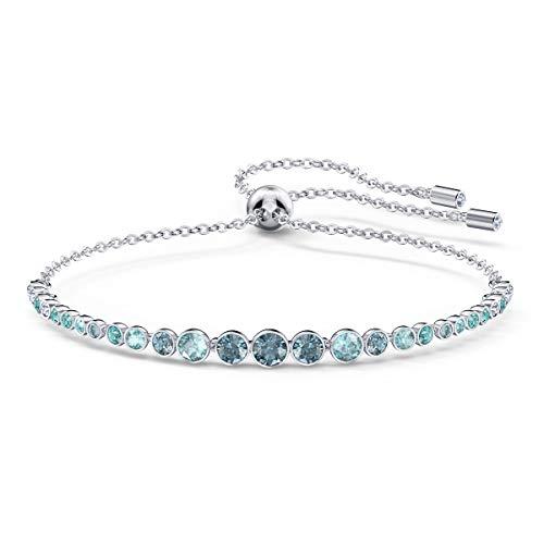 Swarovski Emily Gradient Armband, Rhodiniertes Damenarmband mit Funkelnden Blauen Swarovski Kristallen