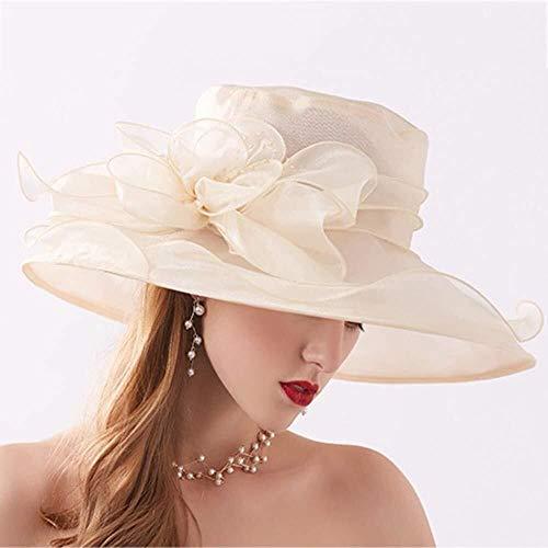 MGE El Organza Sombreros de Sun, Mujeres Ajustable Plegable 12cm Flor Novia de la Boda Iglesia Amplia Casquillo del Verano Derby de Kentucky Tea Party Brim (Color : Beige)