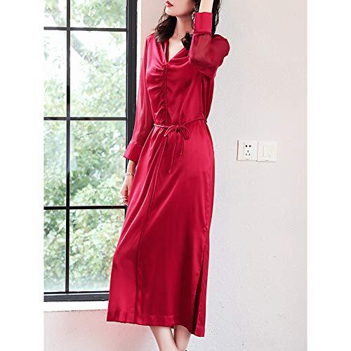BINGQZ Cocktail Jurken Zijde jurk vrouwelijke lente zijde rood jaarlijkse vergadering lange mouw feestelijke V-hals temperament split rok