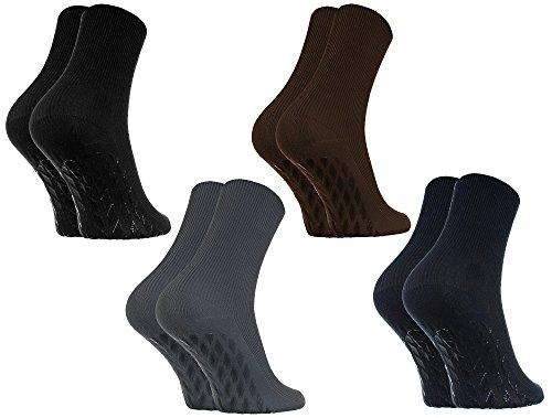 Rainbow Socks - Damen Herren Antirutsch Diabetiker Socken Ohne Gummibund ABS - 4 Paar - Schwarz Braun Blau Graphit - Größen 44-46