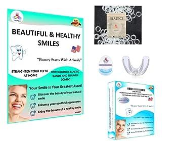 IVORIE Cosmetic Teeth Trainer Straightener and Orthodontic Elastic Bands Teeth Gap Closing Set  Soft Trainer & 1/8  Heavy 4.5oz Elastic Bands