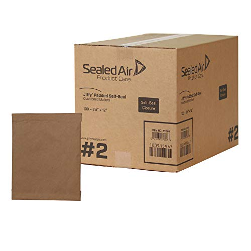 Sealed Air Jiffy Padded Shipping Mailers, Case of 100, Self Seal Heavy Duty Recycled Cushioned Mailing Envelope, #2 - 8.5