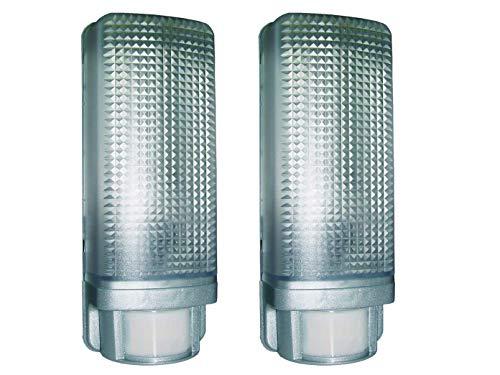 Set van 2 wandlampen met 12m/110° bewegingssensor, aluminium design, E27-fitting, IP44