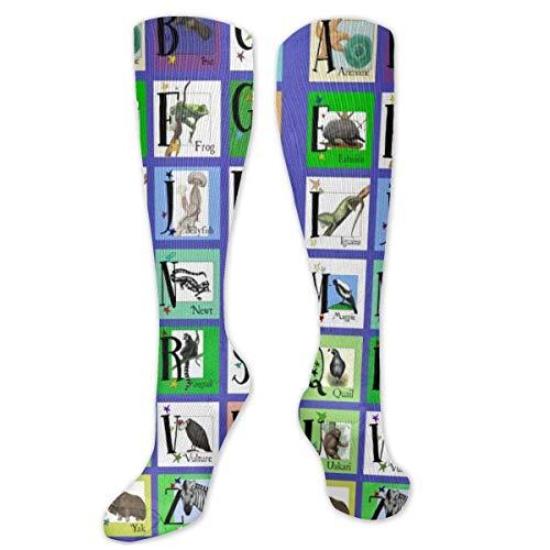 DJNGN Animal ABC - Calcetines de Moda Unisex de poliéster + Spandex, Botas de Cosplay Calcetines Largos de Tubo sobre la Pierna Calcetines Altos para Deportes Gimnasio Yoga Senderismo Ciclismo Correr