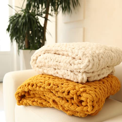Abound Chunky Knit Blanket Throw - 50'x60' - Soft Chenille Yarn Knitted Blanket - Crochet Blanket - Cable Knit Throw Blanket - Couch, Bed, Weighted Chunky Blanket, Gift - Machine Washable (Yellow)