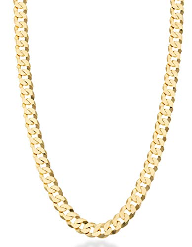 MiaBella Solid 18K Gold Over Sterling Silver Italian 7mm Diamond-Cut Cuban Link Curb Chain Necklace for Men Women, 16, 18, 20, 22, 24, 26, 30 Inch (22 Inches)