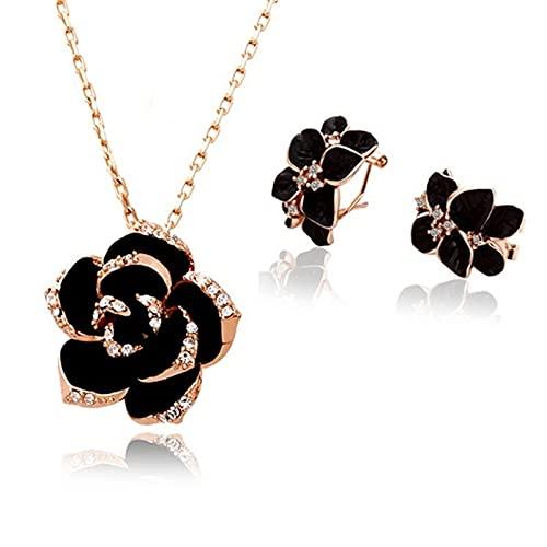 CYTSH Conjunto de Joyas de Flor de Rosa Pintura de joyería Nupcial (Metal Color : Rose Gold Black 2)