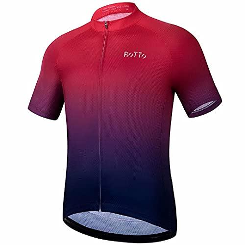 ROTTO Maillot Ciclismo Hombre Camiseta Ciclismo Manga Corta Ropa Ciclista para Bicicleta de montaña con Bolsillo