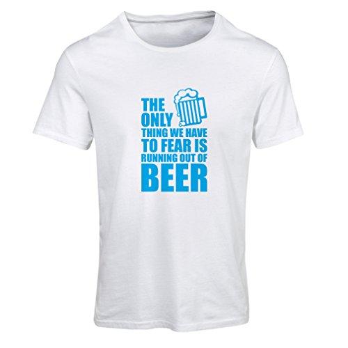 Frauen T-Shirt Um Angst zu haben, kein Bier zu haben - für Party, Hemden zu Trinken (Medium Weiß Blau)