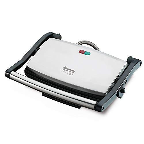 TM Electron TMPGR001 Grill de cocina eléctrico para parrilla y plancha, 1000W, tapa de acero inoxidable y recubrimiento antiadherente