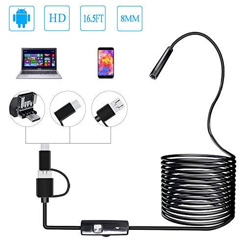 PiAEK Endoscope Android 3 en 1 USB/Micro USB/Type-C Camera Inspection 2.0 Mégapixels HD Endoscope USB Etanche pour Android/Windows/Macbook OS Ordinateur 16.4ft(5M