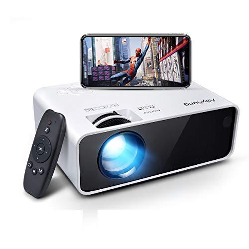 Allyoung Mini projecteur à LED WiFi 5000 lumens Prise en Charge 1080p Full HD, Vidéoprojecteur Compatible avec iphone/Android/Mac/TV Stick Jeu Console/HDMI/VGA/USB/TF/AV, Blanc (Argenté)