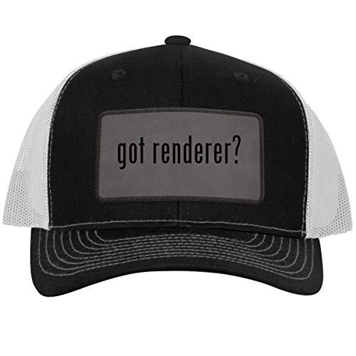 got Renderer? - Leather Grey Patch Engraved Trucker Hat Blackwhite, One Size
