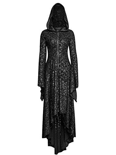 Punk Rave Dark Dreams Gothic Steampunk Neo Victorian Vampir Witchy Pagan Mantel Kleid Kapuze Dark Tales M L XL XXL, Größe:M/L