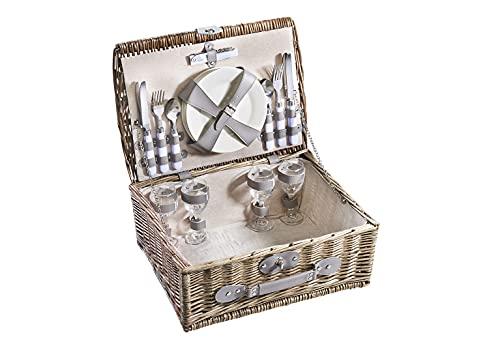 Kobolo Picknickkorb Picknickkoffer - Zubehör für 4 Personen - Weide grau - 43x33x18 cm