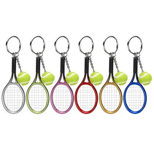 HERCHR Llavero de Tenis  6 Piezas Llavero Deportivo Raqueta de Tenis con Llavero de Bola Mini Llavero Anillo Dividido