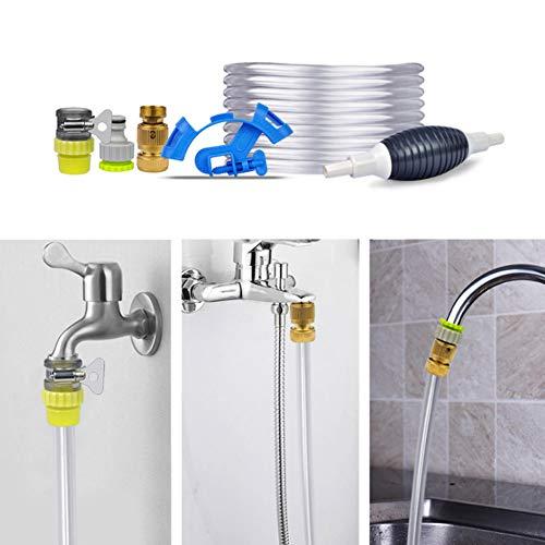 Diyeeni Komplettes Aquarium Wasserwechsel Set, Aqua Wasser Austausch Einfaches Schnelles Wasserwechselsystem mit 5m Weiche Rohr und Universal Wasserhahn Anschluss, BPA Frei, Sicher für Tiere