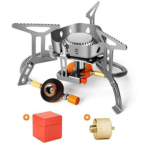 Odoland 3500W Windrpoof Camp Stove Camping Gas Stove with Fuel Canister Adapter, Piezo Ignition, Carry Case, Portable Collapsible Stove Burner for Outdoor Backpacking Hiking and Picnic