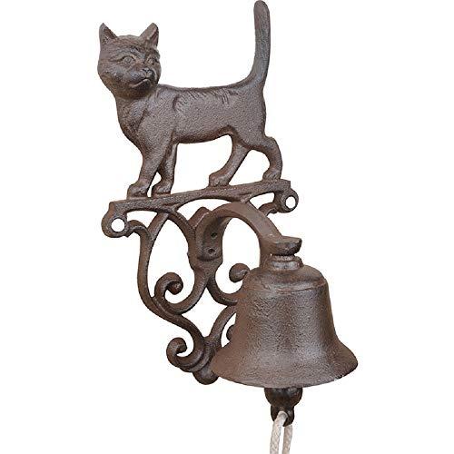 linoows deurbel kat wandbel, tuinbel in nostalgische stijl van gietijzer