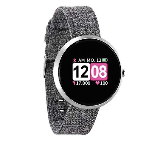 X-WATCH 54048 SIONA COLOR FIT Farb-TFT Damen Smartwatch, Activity Tracker für Android und Apple iOS Helles silber