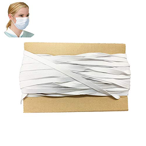 FoamRush Premium Quality 1/4' Wide 10 Yards White Latex-Free, Hospital Grade Heavy Stretch Knit Elastic Band, Elastic Cord, Elastic Rope for Face Mask Made in USA, DIY, Arts and Crafts