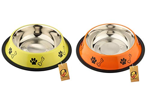 Foodie Puppies Stainless Steel Combo Offer Paw Bone Printed Fiery Orange and Vibrant Yellow Food Water Feeding Bowl for Dogs & Puppies (Medium, 700ml Each)