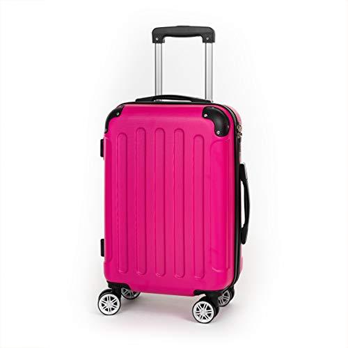 Koffer Kofferset Trolley Hartschale Reisekoffer 4 Rollen A13 M-L-XL-Set (Pink, M Handgepäck)