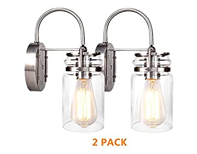HOMIFORCE Vintage Style 2-Light Sconce Light Set of Two with Super-Thick Glass Shade Simplicity Industrial Retro Edison Fixture in Antique Nickel Finish CL2017091(Stephan Nickel)