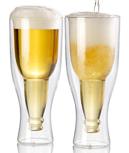 Autek Conjunto de 2 de Vasos de cerveza con doble cristal pared, diseño botella de cerveza, en 330ml