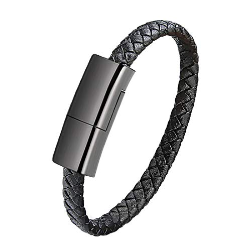 Mother's Day Gift USB Leather Charging Bracelets Portable Braided Wrist Band Bracelet Cable Data Charger Cord for iPhone