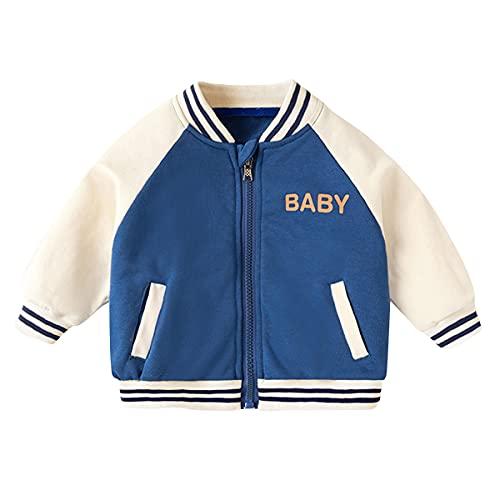 Famuka Baby Jacke Baby Junge Mädchen Baseball Übergangsjacke Frühling Herbst Babykleidung (Blau, 6-9 Monate)