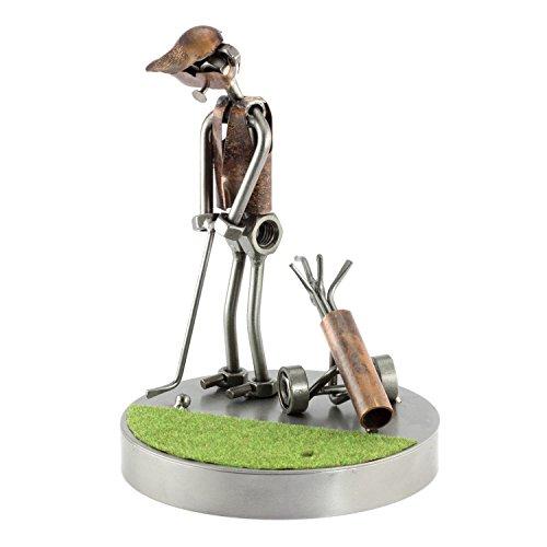 Steelman24 I Schraubenmännchen Golf Putter Auf Dem Grün I Made in Germany I Handarbeit I Geschenkidee I Stahlfigur I Metallfigur I Metallmännchen