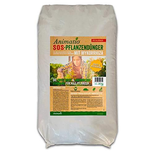 Mykorrhiza Volldünger - ReAnimatio plus Universal-Langzeitdünger baut Pflanzen wieder auf, als Dünger, Bodenverbesserer & Startdünger für Rollrasen und Rasen-Aussaat, Inhalt: 25 kg