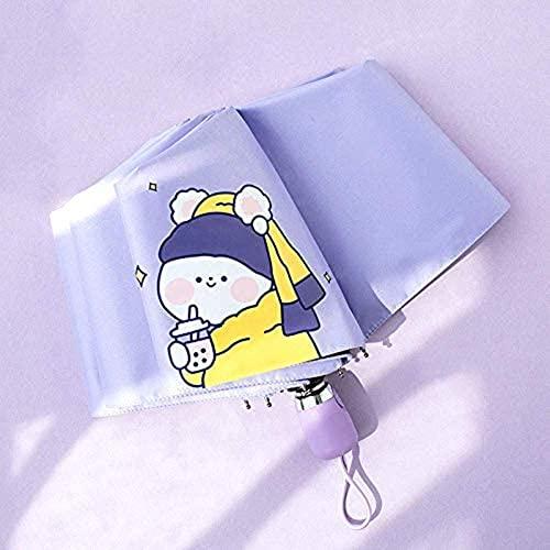 Uymkjv Linda Paraguas, Sol Plegable Manual, día Soleado y día lluvioso, Doble propósito, UV, Protector Solar, cinturón portátil A