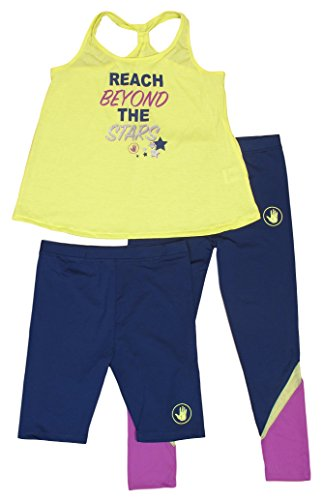 'Body Glove Girls\' 3-Piece Athletic Set with Shorts Long Pants and Tank Top, Size 5/6, Lime and Navy'