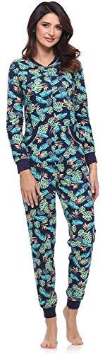 Merry Style Damen Schlafanzug Strampelanzug Schlafoverall MS10-175 (Marineblau/Blätter, S)