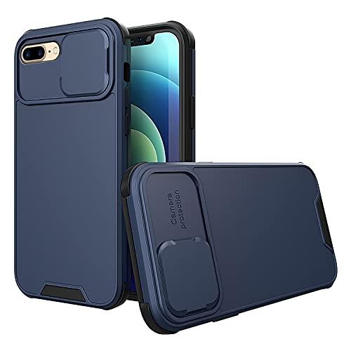 Cover iPhone 7Plus / 8Plus,Versione aggiornata Grado Militare Antiurto Custodia, Ultra Slim Full protezione 2 in 1 con finestra push Custodia Cover per iPhone 7Plus / 8Plus. (7 Plus / 8 Plus, Blu)