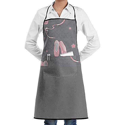 Leyorie Delantal de cocina de poliéster resistente al agua con diseño de zapatos de ballet (rosa)