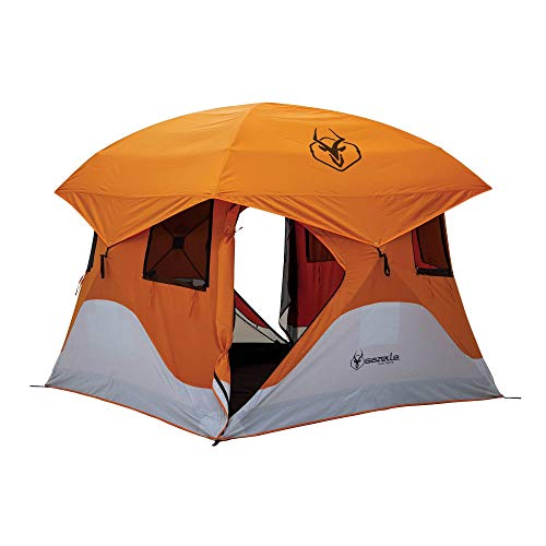 Gazelle T4 94' x 94' 4 Person Pop Up Camping Hub Tent with Removable Floor & Fly